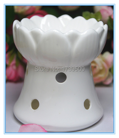 9cm tall popular promotional gifts cheap handmade glazed hollow ceramic oil warmer lotus shaped white indoor home decoration(China (Mainland))