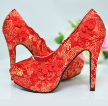 Freeshipping Best Selling Silk Mesh Designer Chinese Traditional Women Wedding Shoes High Heel Pumps Party Shoes Red Only ML350(China (Mainland))