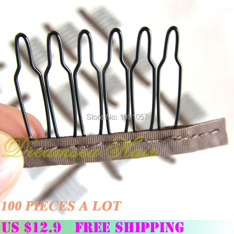 Wholesale Wig Accessories 3.8cm*3cm Hair Wig Combs and Clips For Wig Cap black and brown color 100pcs Lot(China (Mainland))