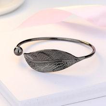 ZHOUYANG Bangles For Women Sweet Literary Elegant Fresh Leaf Shaped 4 Color Charm Open Bracelet Gift Fashion Jewelry KAH139(China)