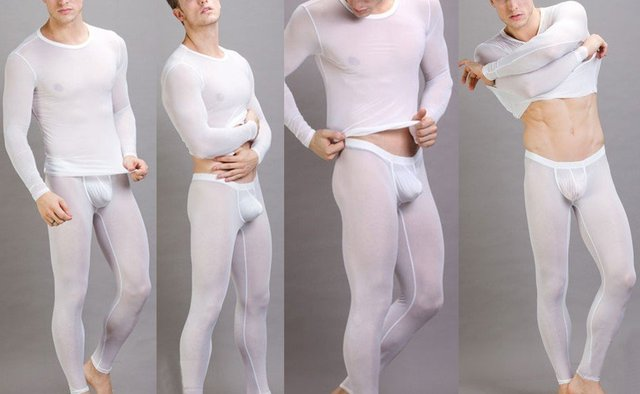 N2N Sexy Men's underwear leggings Long Pants with pouch white (Pants Only)