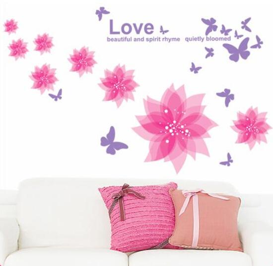 Бабочка цветок гостиная спальня съёмный стена наклейки надписи обои украшение розовый 2103