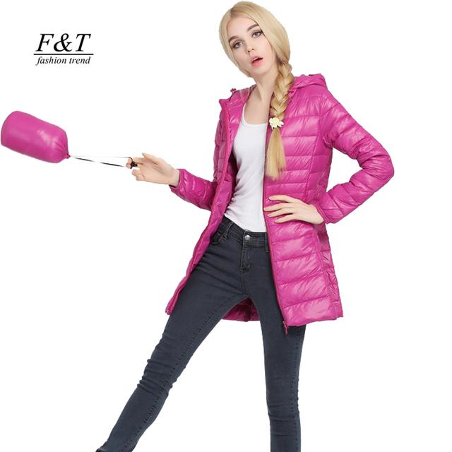2016 Осень зима женщины ультра легкий утка вниз пальто куртка тонкий средней длины ...