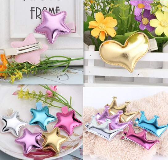 Hot Sale!!Summer Style Metal Color Children Crown baby Hair pins Girls Hair Accessories Crown Accessories Baby star Hair Clip(China (Mainland))