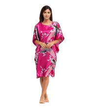 Summer Hot Pink Sexy Silk Rayon Home Dress Women Summer Nightdress Sleepshirt Robe Gown Kimono Bathrobe Plus Size 6XL A-071(China (Mainland))