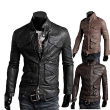 2015 men's fashion motorcycle leather collar Slim jacket, men's outdoor high quality casual jackt eveste homme veste homme (China (Mainland))