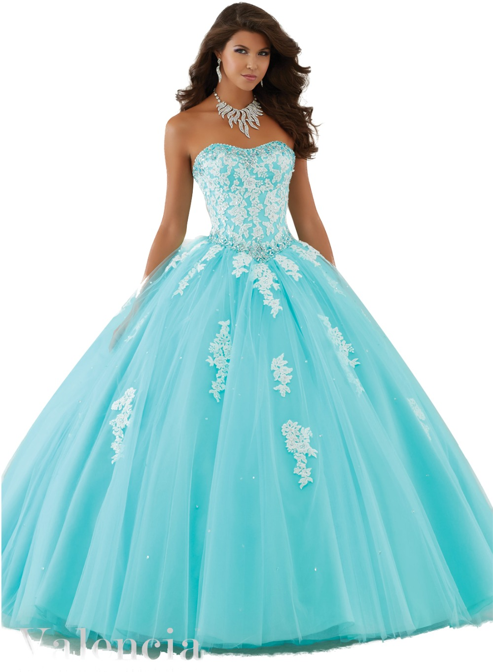 High Quality Quinceanera Dresses White and Blue-Buy Cheap ...
