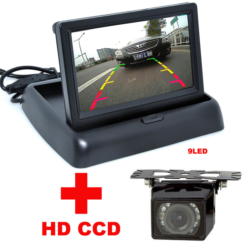 2 in 1 Auto Parking Assistance 4.3 inch Color LCD Car Video Foldable Monitor Camera + 9LED Night Vision Car CCD Rear View Camera(China (Mainland))