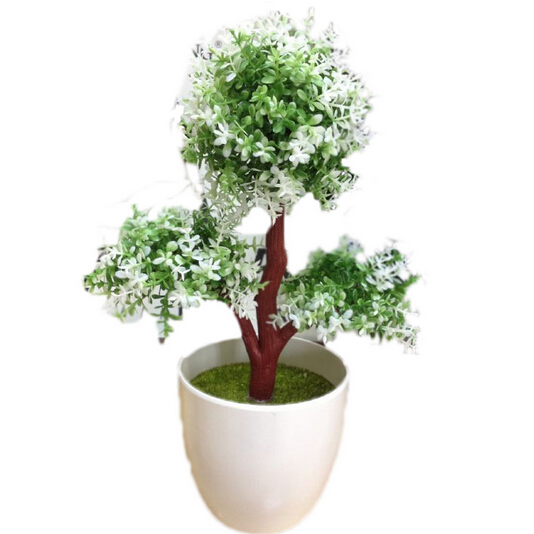 Hot Artificial Tree Plants Bonsai Pine Fake White Vase Mini Tree Real Touch Fake Plant Potted On The Desk Office Christmas(China (Mainland))