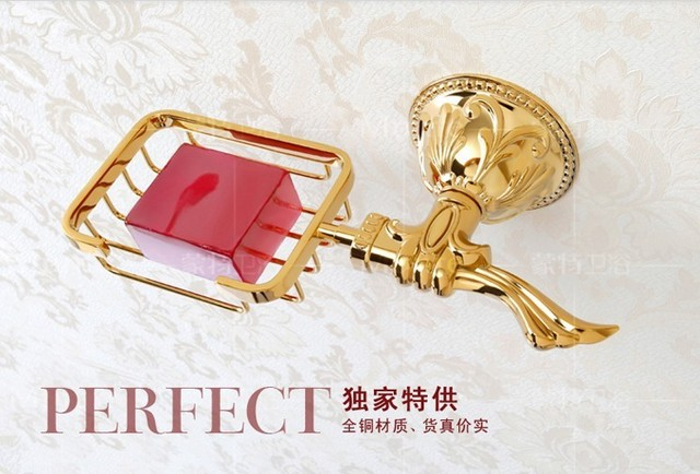 Free shipping European style copper golden bathroom carved soap box wall mounted soap dish holder for soap bathroom decoration