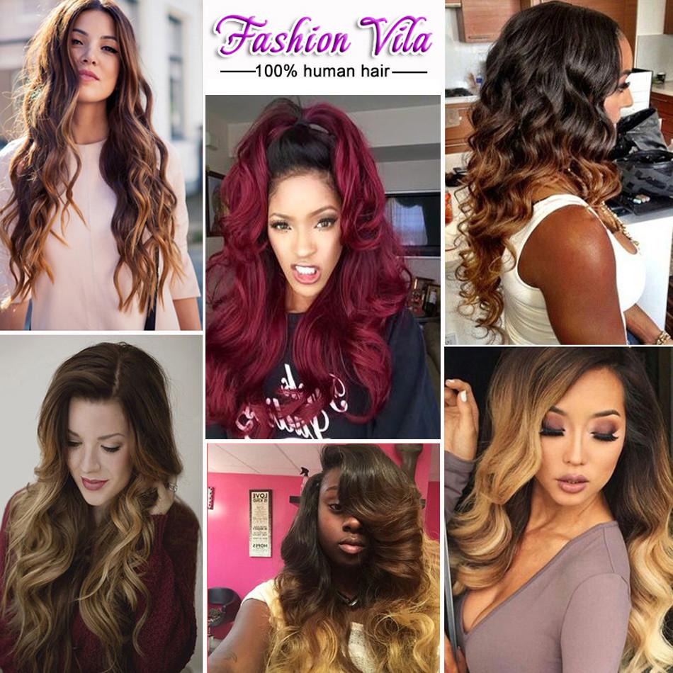 7A Ombre Brazilian Virgin Hair Body Wave 3Bundles Ombre Brazilian Hair Weave Bundles 1B/99J Rosa Hair Ombre Human Hair Extension