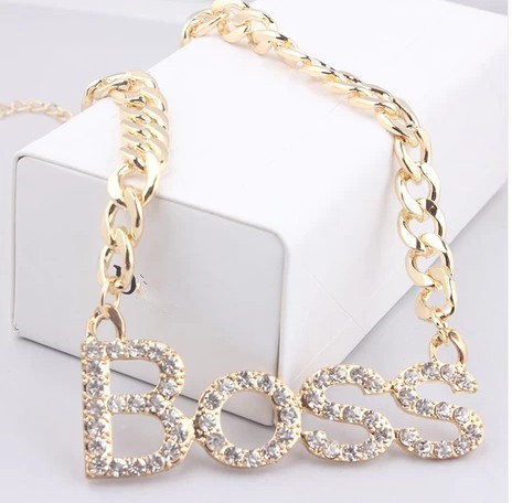 fashion Popular best selling Design BOSS Letter Pendant Chunky Necklace gold&silver plated necklace XL-320(China (Mainland))