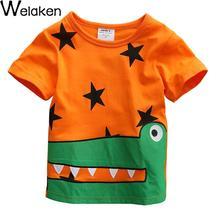 Summer Boy Top Tees Short Sleeve Cotton Cartoon Animal Crocodile & Star Print European And American Style Kids T-Shirt