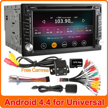 Pure Android 4.4.2 Quad Core Universal 2 Two Din Car DVD Player GPS Navigation Audio Radio Stereo PC Built-in WiFi Support TPMS