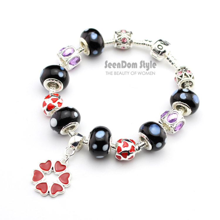 Love Heart Dangle 925 Silver CZ Crystal Charms Pulseras European Murano Beads Clasp Bracelet + Gift Pouch PBS134 - SeenDom & Jewelry store