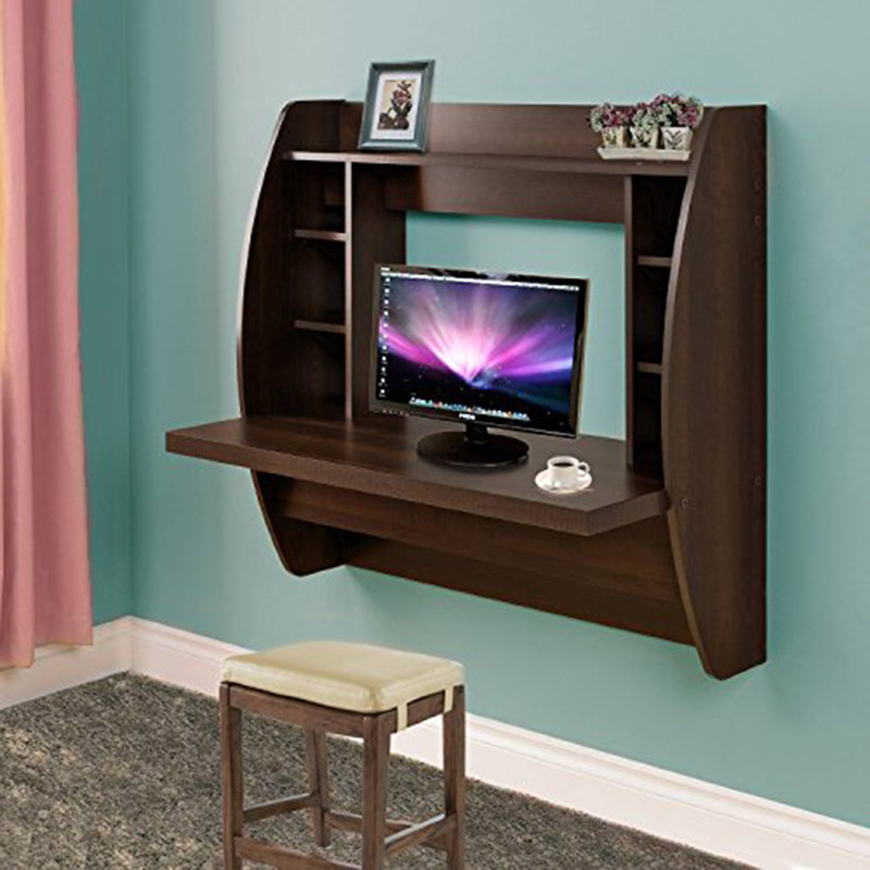 Homedex Wall Mounted Floating Desk with Storage (Brown)(China (Mainland))
