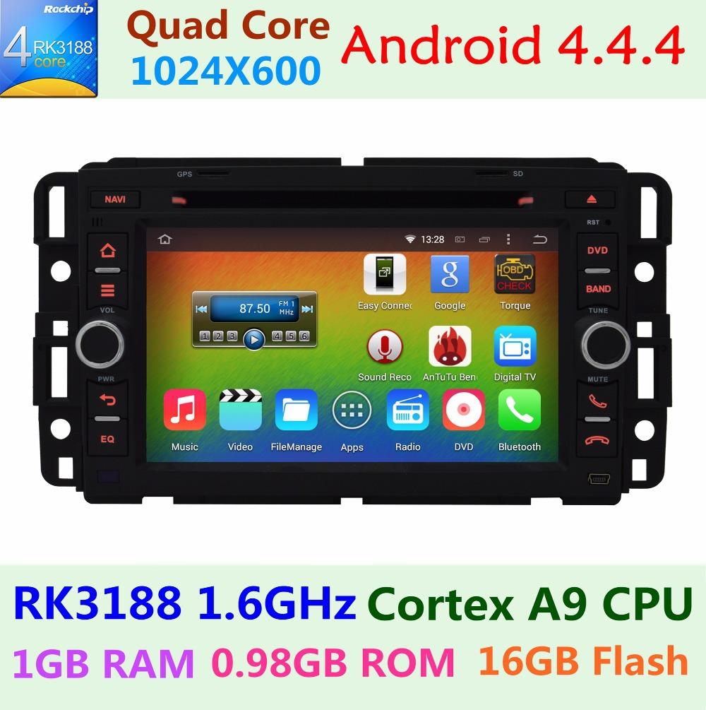 For Chevrolet Chevy Suburban Silverado Cobalt Buick Enclave Car DVD Player 1024X600 Android 4.4.4 Quad Core Radio GPS Navigation(China (Mainland))