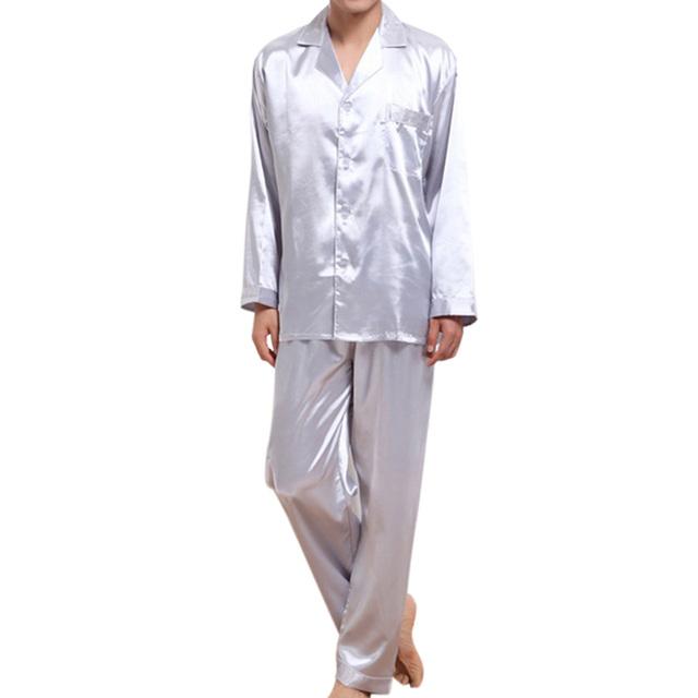 Высококачественная искусственная шелковые мужские пижамы весна осень вышивка домой ...