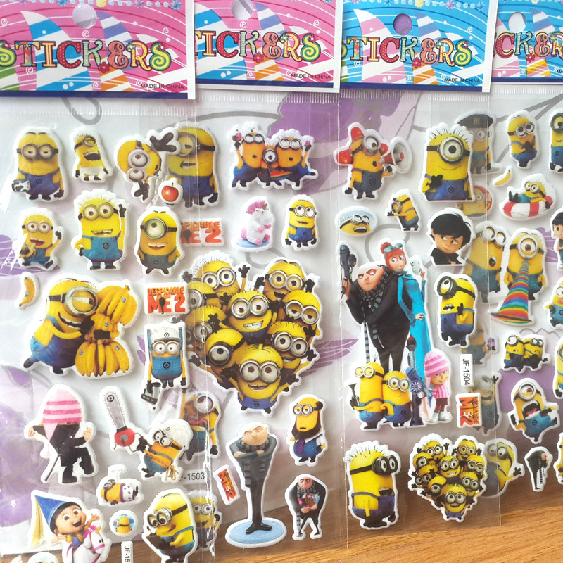 Cartoon stickers for kids Home wall decor on laptop Despicabl Me mini 3D sticker decal fridge skateboard doodle(China (Mainland))