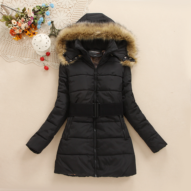 2015 New Women Jacket Jackets Winter Warm Coat Woman Detachable Fur Collar Fashion Long Outwear Plus Size Free Ship , JD018