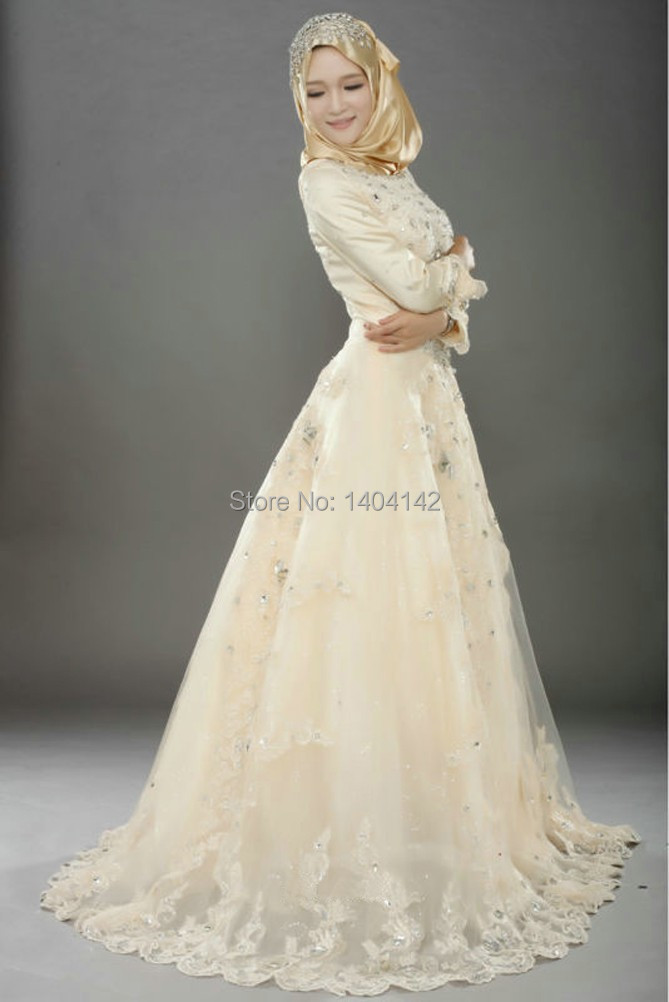 champagne muslim wedding dresses long sleeves applique tulle bridal gown