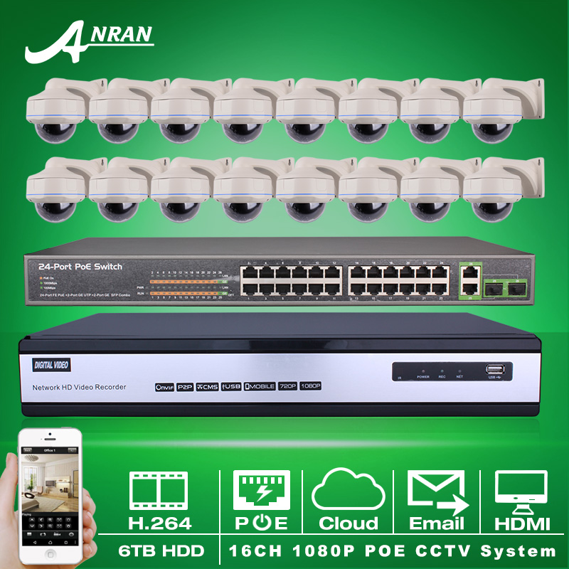24CH POE Switch 16CH NVR Kit Security CCTV System 6TB HDD Onvif H.264 1080P 2MP HD Outdoor Vandal-proof IR IP Network POE Camera(China (Mainland))