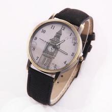 2015 mujeres moda Retro correa de cuero del vestido para mujer reloj de cuarzo Vintage relojes de pulsera ocasional Horloge femenino Big Ben reloj Saat