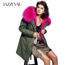 JAZZEVAR women's army green Large color raccoon fur hooded coat parkas outwear long detachable lining winter jacket brand style(China (Mainland))