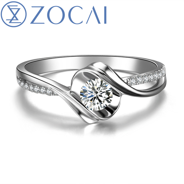 "ZOCAI  ENCOUNTER ""0.7 CARAT EFFECT"" 0.3 CT CERTIFIED I-J / SI ROUND CUT 18K WHITE GOLD DIAMOND ENGAGEMENT RING W02534"