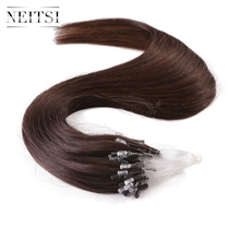 "Neitsi Micro Loop Ring Human Hair Weave Extensions 20"" 50g 100g 2# Dark Brown Indian Remy Virgin Pre Bonded Straight Hair Pieces(China (Mainland))"