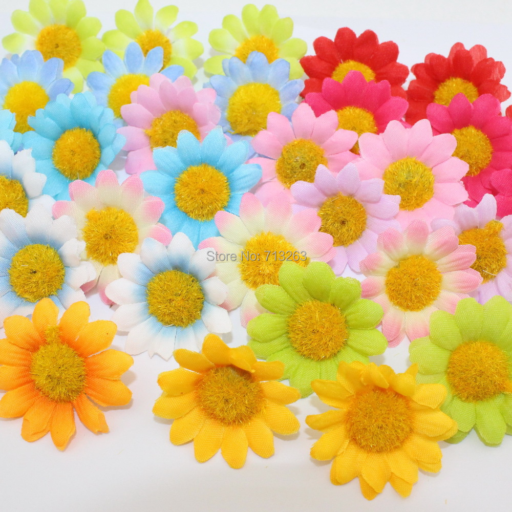Free Shipping 50PCS 12 Multicolor Artificial Gerbera Daisy Silk Flowers Heads For DIY Wedding Party(China (Mainland))