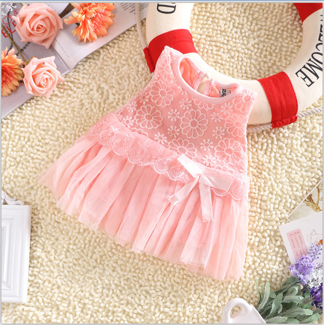 Hot! lace flower cute baby dress,Party Wedding Birthday baby girls dresses,Candy colors princess infant dress Spring summer 0-2<br><br>Aliexpress