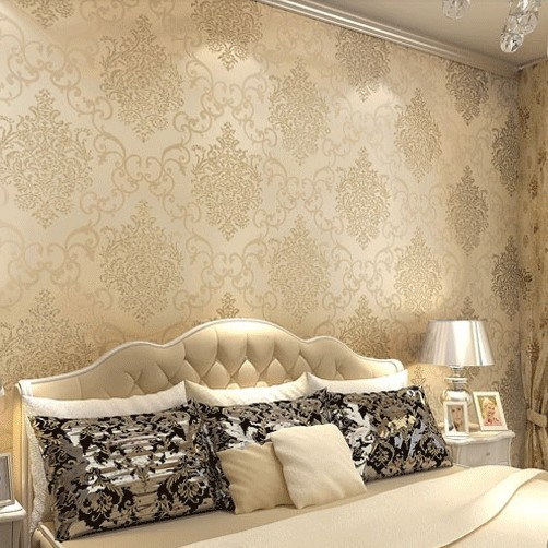 luxury modern european flock non woven metallic floral damask wallpaper designers vintage wall paper textured