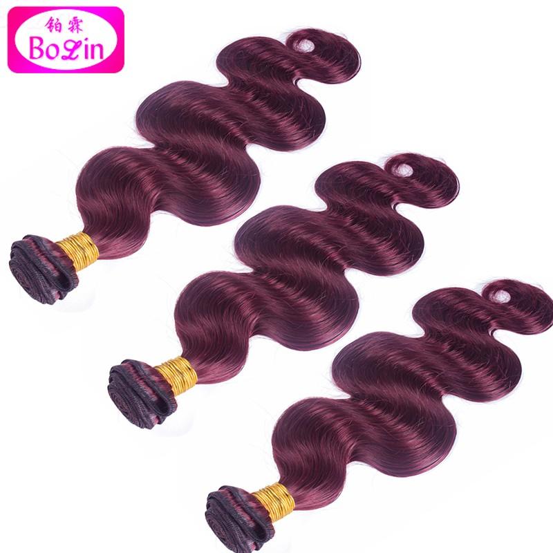 7A Burgundy Peruvian Body Wave Virgin Hair Weave Bundles 1Pcs/Lot #99J Burgundy Peruvian Hair Wine Red Peruvian Remy Human Hair