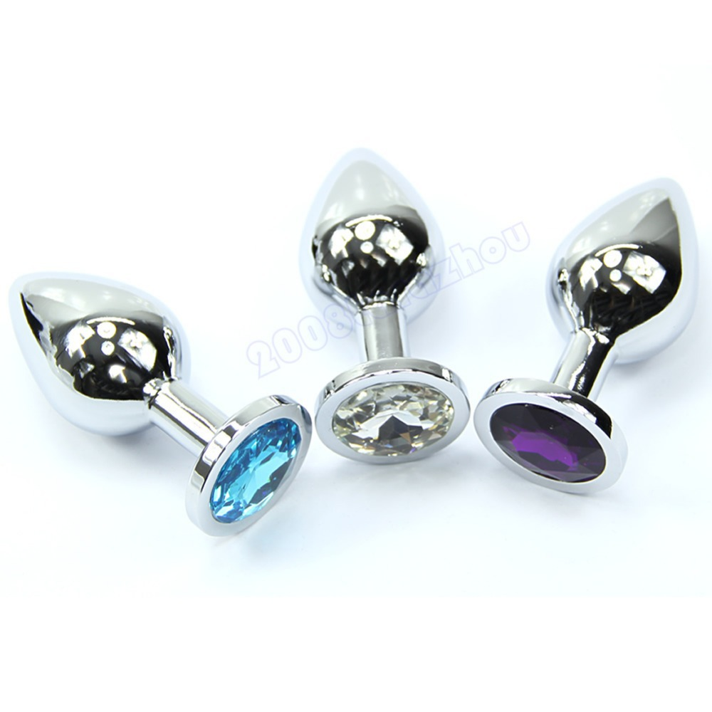 E79 1PC Middle Butt Toy Plug Anal Insert Stainless Steel Metal Plated Jeweled Sexy Stopper(China (Mainland))