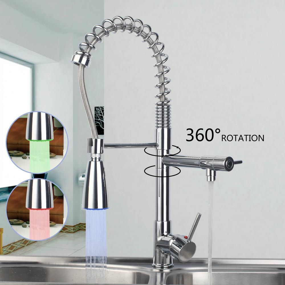"20"" Spray Kitchen Torneira Cozinha LED Light Pull Swivel Chrome Spray 97168D009/2 Basin Sink Vessel Tap Mixer Faucet"