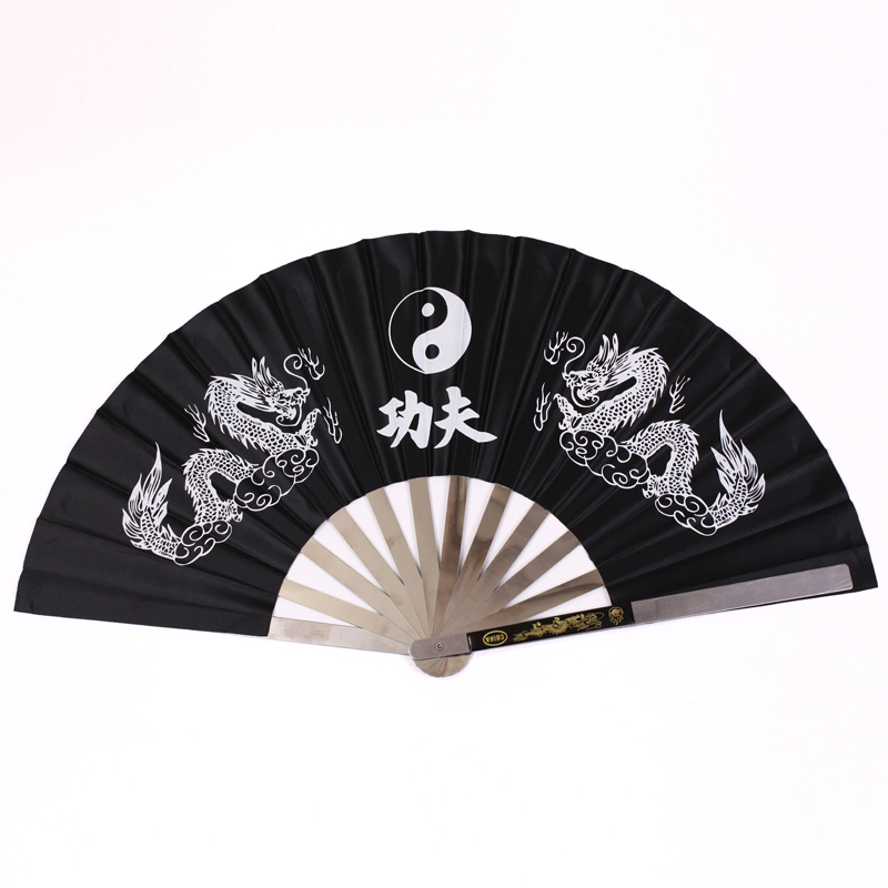 New Chinese Dragon Stainless Steel Frame Tai Chi Martial Arts Kung Fu Fan Black