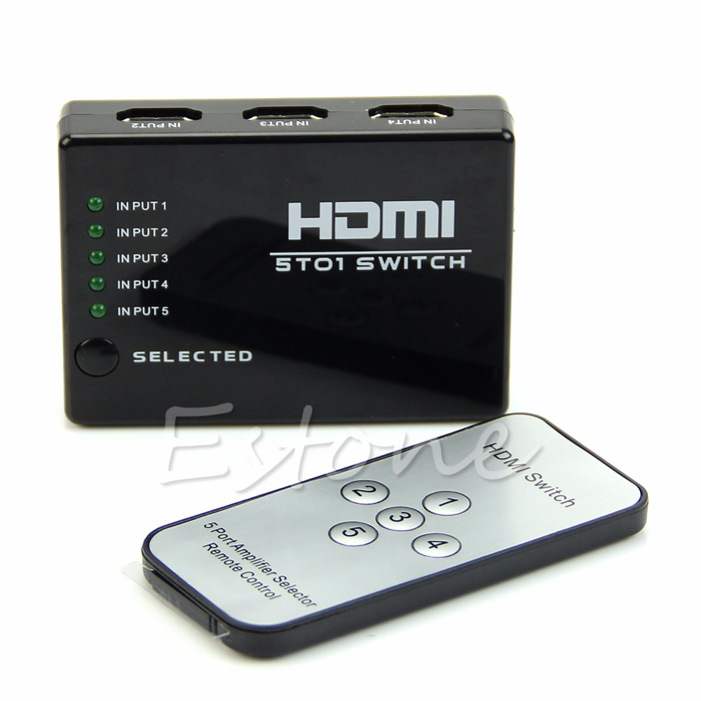 5 Port Video HDMI Switch Switcher Splitter For HDTV DVD With IR Remote 1080P(China (Mainland))