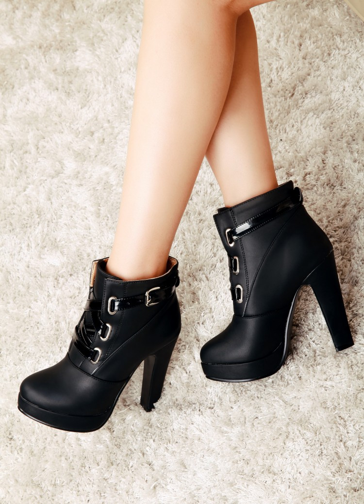 2015 Autumn And Winter New Stiletto Shoes Platform Boots Rome Female Heeled Booties Pink, Black, Yellow, Beige