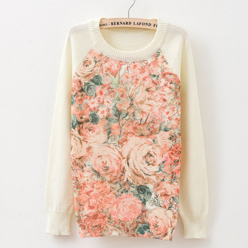 Autumn Winter Pink Rose Big Flower Printing Romantic Pure White Women's Sweater Long Sleeve Knitwears Basic Cashmere High(China (Mainland))