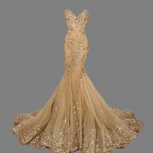 WSB108 High Quality Cheap Luxury Fishtail Long Evening Dresses China Sweetheart Popular Mermaid Gold Prom Dresses 2016(China (Mainland))