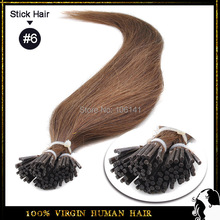 "18"" - 24"" 100s/pack Pre Bonded Keratin Stick Hair I Tip Hair Extension 100% Indian Remy Human Hair #6 Light Brown 6A Human Hair(China (Mainland))"