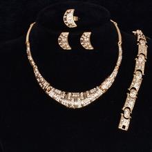 ACEMIR Newest Women Fashion Rhinestone Wedding Jewelry Sets African Gold Plated Rhinestone Necklace Wedding Jewelry Sets JS151(China (Mainland))