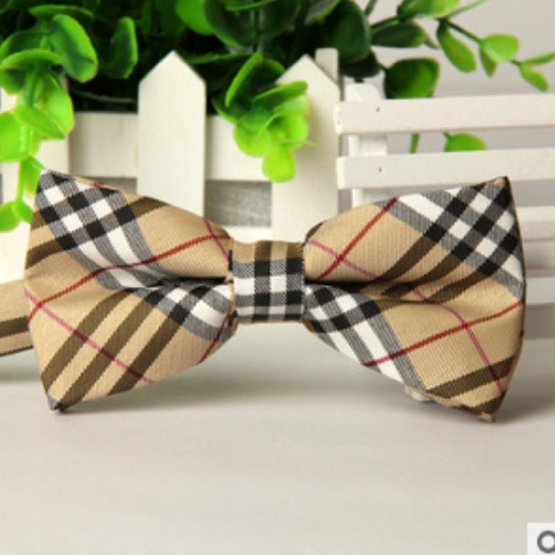brand gravata corbatas pajaritas hombre Apricot black white British grid wedding bow tie marca noeud Watch