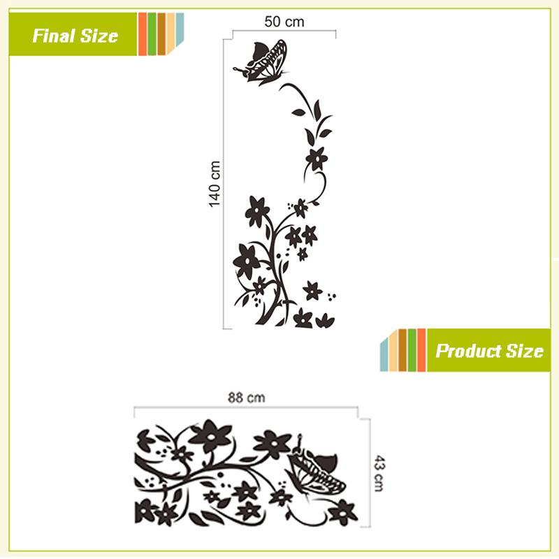 acheter noir ou blanc vigne fleur autocollants zooyoo8308 r frig rateur non toxique stickers. Black Bedroom Furniture Sets. Home Design Ideas