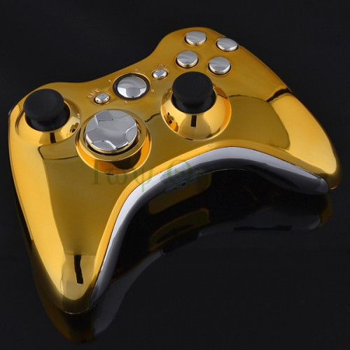 IVY QUEEN Custom Gold Shell For Microsoft Xbox 360 Wireless Controller Case Housing With Silver RT LT RB LB Buttons Video Game(China (Mainland))
