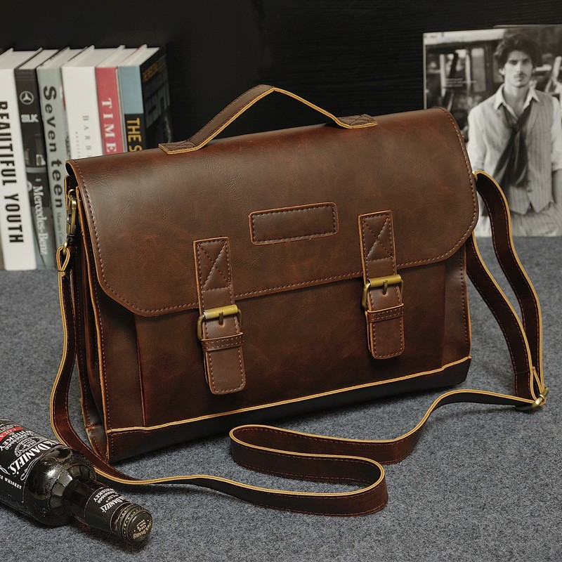 Vintage Men Business Real Genuine Leather Briefcase Travel Causal Shoulder Messenger Portfolio Laptop Bags Lawer Handbag Bolsa (7)