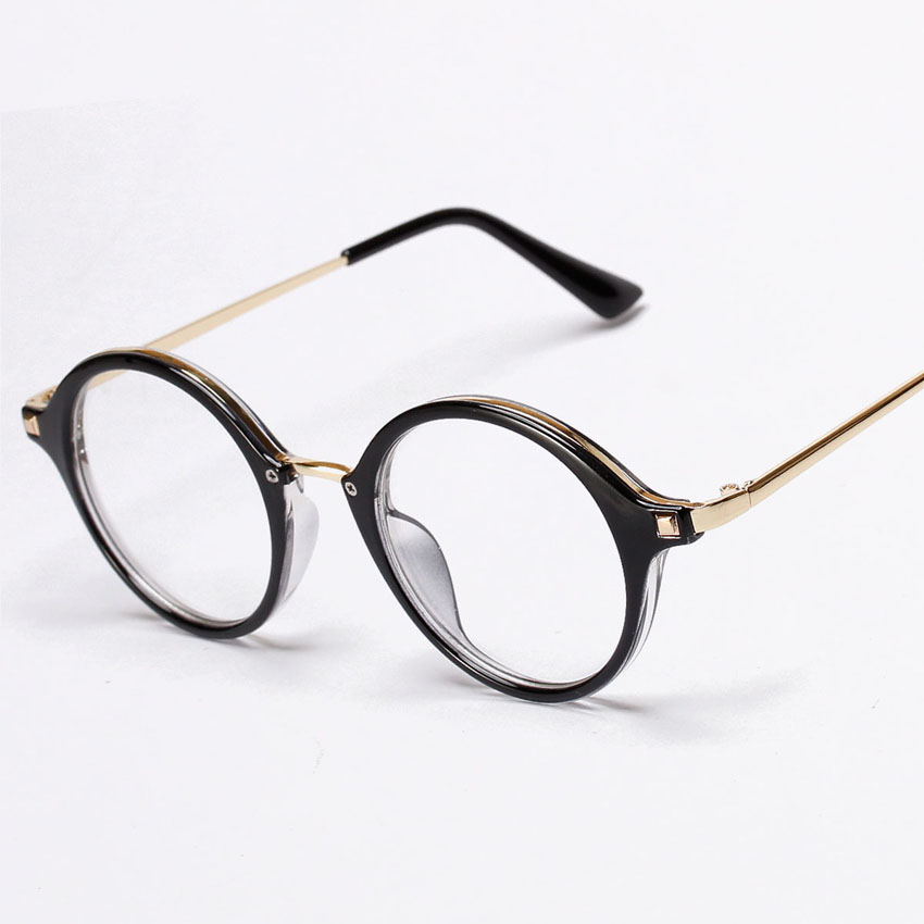 Gold Metal Glasses Frames : wholesale vintage round eyeglasses women gold metal rivets ...