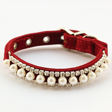 Armi store Rhinestone Pearl Chain Dog Collar Princess  Collars For Dogs Cats 60 41017 Pet Leads Accessories Free Shipping(China (Mainland))