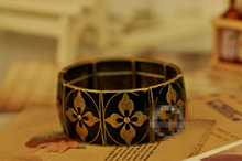 SL025 Wholesales Vintage Side Piece Four-leaf Flower Elastic Bracelet For Men Jewelry Accessories(China (Mainland))